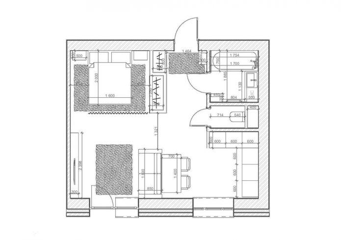 Планировка студии 35 кв. м.