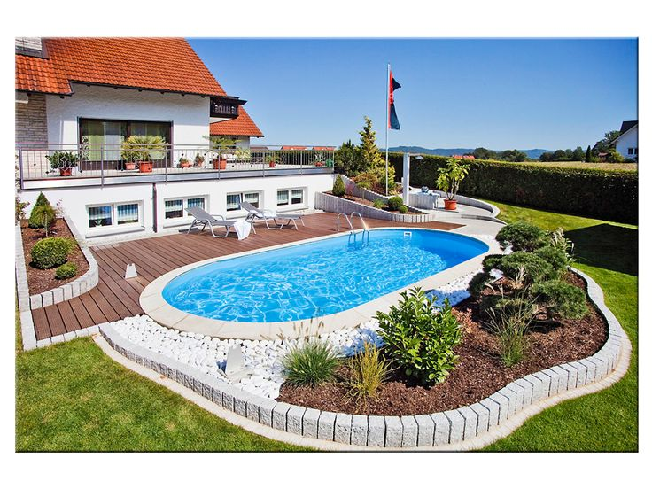Schwimmbecken mit weißer Folie und Edelstahleinbauteilen Ideen