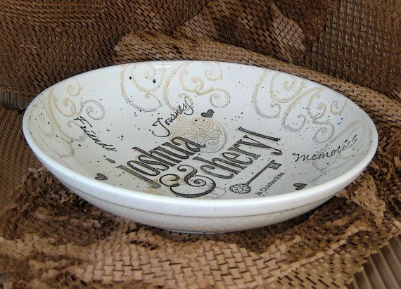 Pottery Wedding Gifts: Hand Painted, Personalized Name Wedding Gift Bowl On Etsy