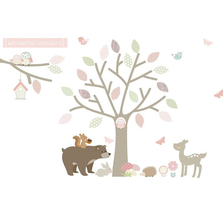 A stunning tree fabric wall sticker with woodland animals by Littleprints.Available in 2 colour options: Option 1: Pink Option 2: BlueThis unique, beautiful woodland scene adds a stunning focal point to any child's nursery or bedroom. The matte finish and slight fabric texture of the premium fabric from which the stickers are produced creates a contemporary feel. Simple to use, the stickers may be repositioned many times and have the appearance of being flat to the wall. A truely wonderfu...