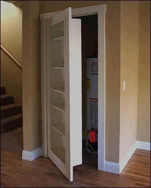 Hidden storage. Hidden closet behind bookcase. This would be a cool idea for a secret passage too.