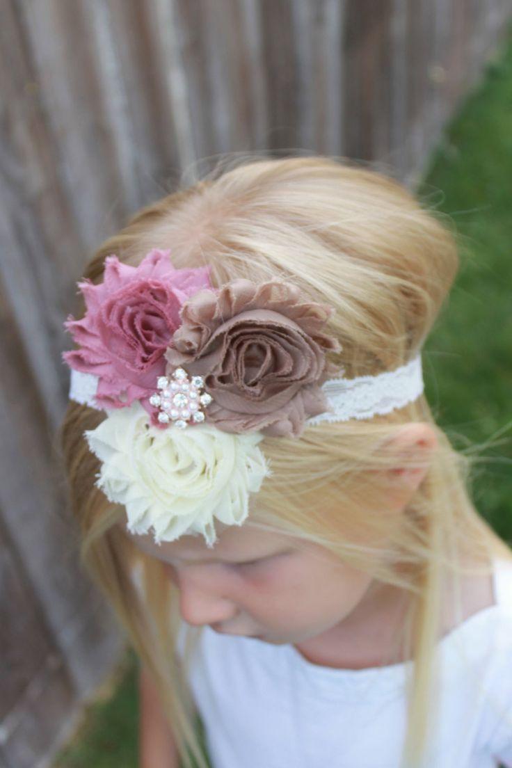 Zara baby hair accessories - Cream Flower Headband Mauve Headband Tan Headband Baby Headband Vintage Headband Girl
