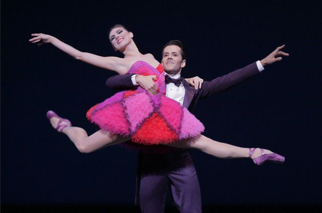 "New York City Ballet's Tiler Peck and Robert Fairchild in costumes by Valentino for Peter Martins' ""Not My Girl"""