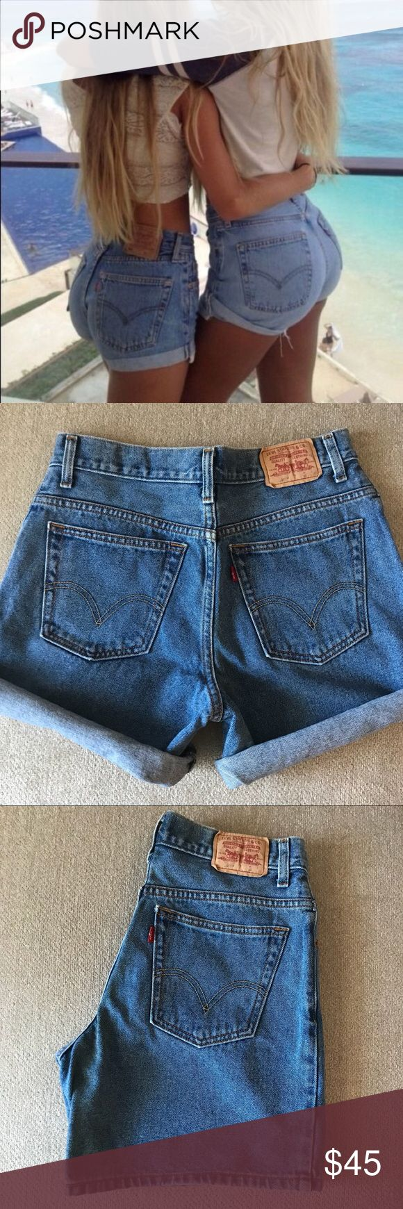 Vintage Levi's 550 High Waisted Denim Shorts 10 Pre-loved, gently worn with lots of life left! These denim shorts are the trend now. They haven't been customized yet so you can customize them to the exact style you want wether it be a folded hem or distressed hem. Light to medium wash denim color. I have 2 pair both in a size 10 selling separately. Levi's Shorts Jean Shorts