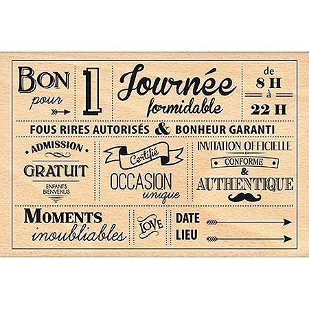 Border Line - Tampon Bois - Pour une Journée Formidable - 13.6 x 9 cm