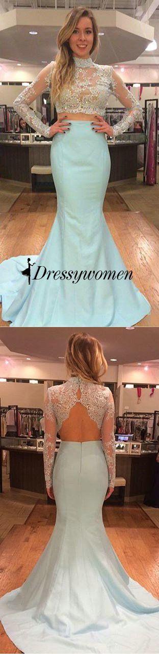 prom dress, 2016 prom dress, two pieces high-neck long sleeve prom dress, mermaid prom dress, light sky blue prom dress