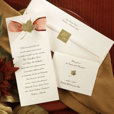 Fall Wedding Invitations With Ribbons Maple Breeze Invitation Set By The Office Gal
