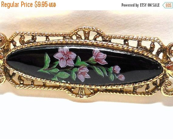 CLEARANCE SALE Victorian Revival Bar Pin Black enamel with