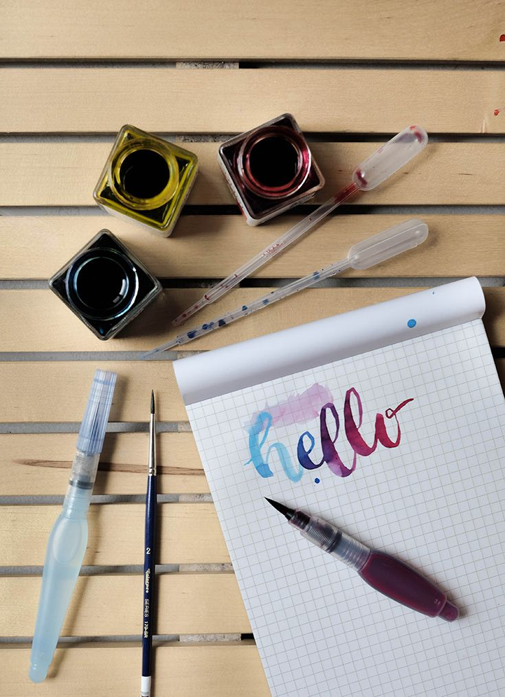 Liquid watercolour is one of my favourite tools for brush lettering. For more, click through!