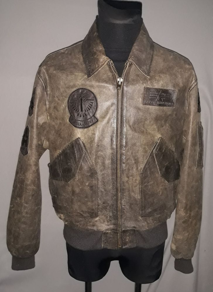 3e2d74ed7 Vintage Alpha Industries CWU 45/P Leather Bomber Flight Jacket Brown ...