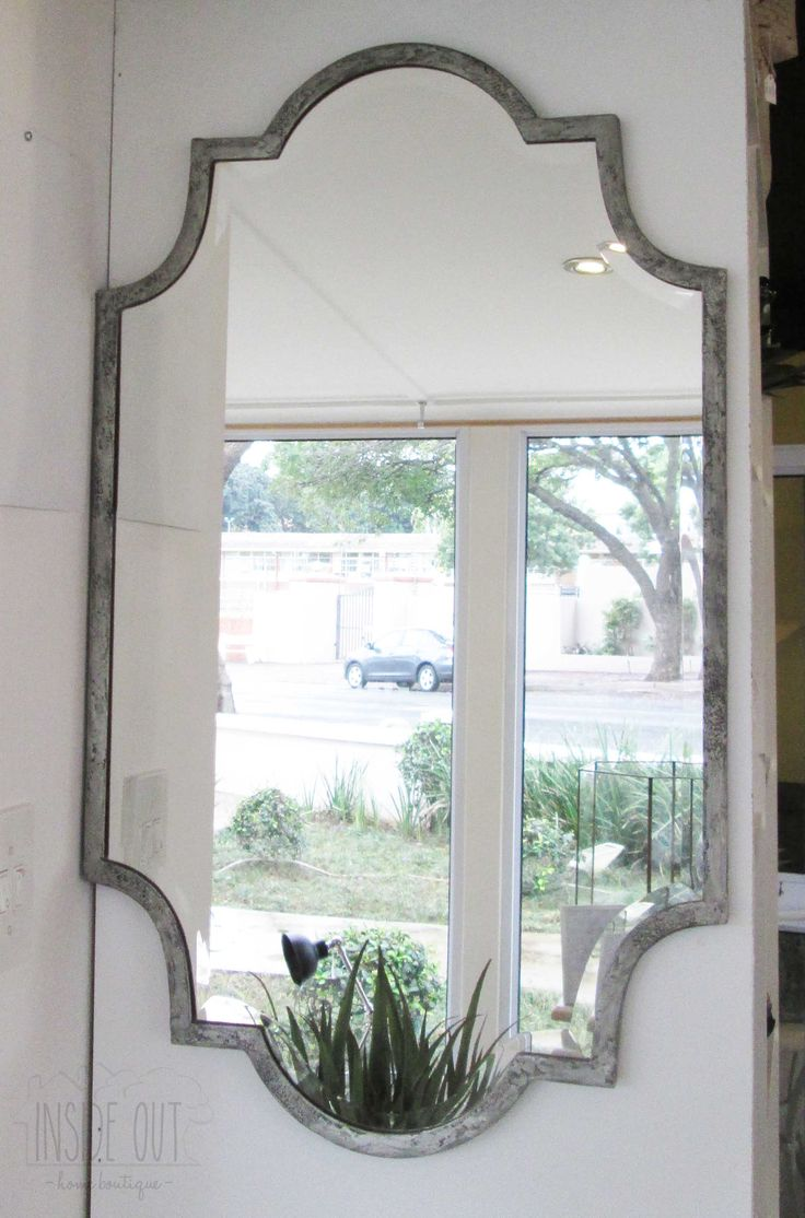 Pewter Finish Shaped Mirror - 900 x 530mm - Inside Out Home Boutique - Please check stock availability