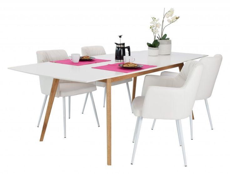 Utragbart matbord med skiva i vit lackad MDF och ben i massiv oljad…