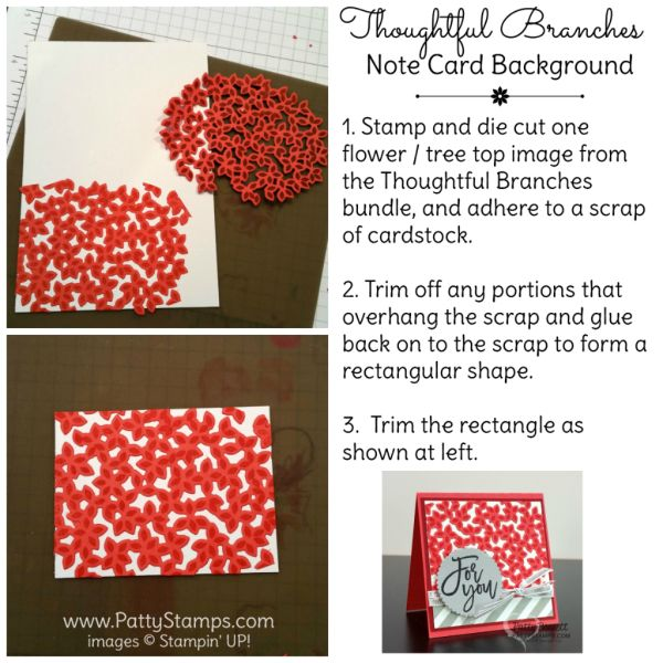 Create a fun background  with the Thoughtful Branches die cut for this 3x3 notecard by Patty Bennett featuring Stampin' UP! bundle, paper, and…
