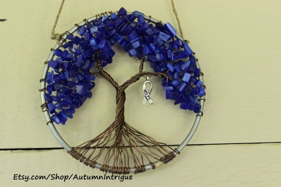 Colon Cancer Awareness DARK BLUE Tree of Life by AutumnIntrigue, $36.00 #coloncancer