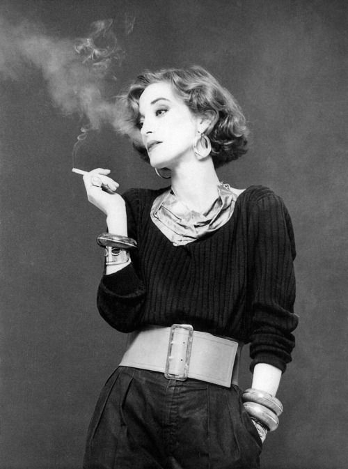 The amazing style of French jewels designer and muse of YSL LOULOU DE LA FALAISE, photo by JP Masclet 1980.