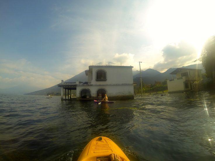 Sunken homes in Lago Atitlan in San Pedro La Laguna