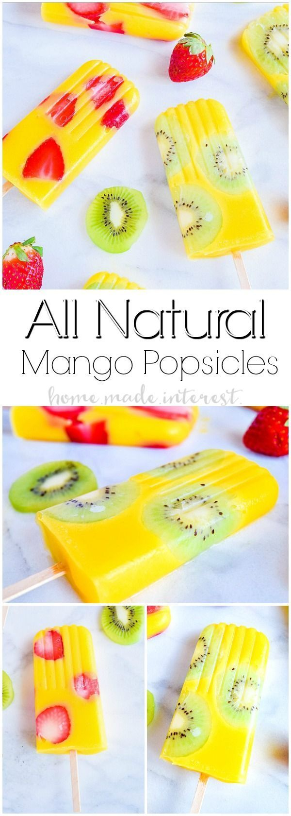 All Natural Mango Popsicles   Fruit popsicles are a great way to get your kids to eat more fruits and to stay hydrated in the summer. These all natural mango popsicles are mixed with kiwi and strawberry pieces for delicious no sugar added fruit popsicles. These beautiful mango kiwi popsicles and mango strawberry popsicles are going to be an awesome summer popsicle recipe for kids and adults! #BritaStream #ad