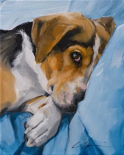 Original Fine Art By © Clair Hartmann in the DailyPaintworks.com Fine Art Gallery #DogPainting