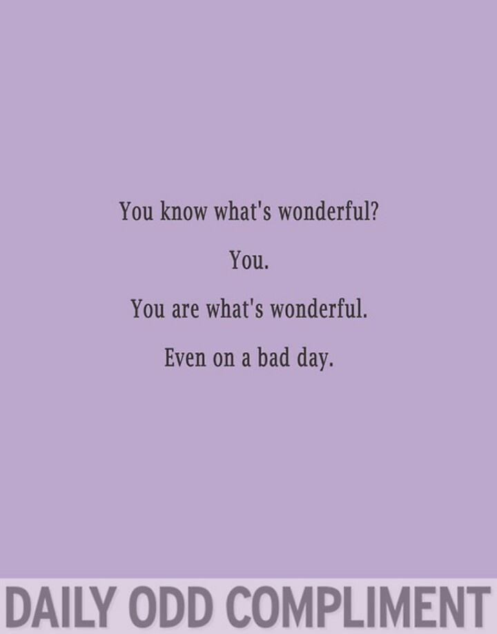 Daily odd compliment - wonderful