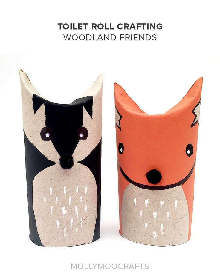 These super cute and simple toilet roll fox and badger woodland friends are the perfect make and play craft for kids. // MollyMooCrafts.com