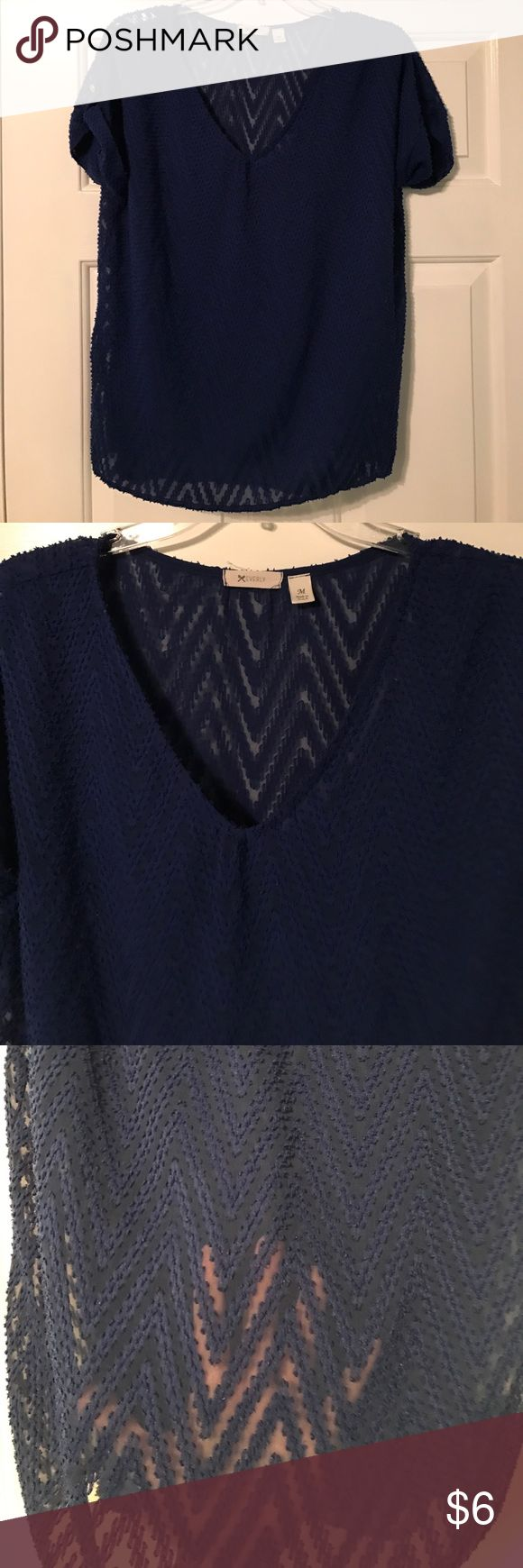 Everly blue chevron top Sheer royal blue chevron top. Fabric design is raised/dimensional. Gold buttons on sleeves Everly Tops Blouses
