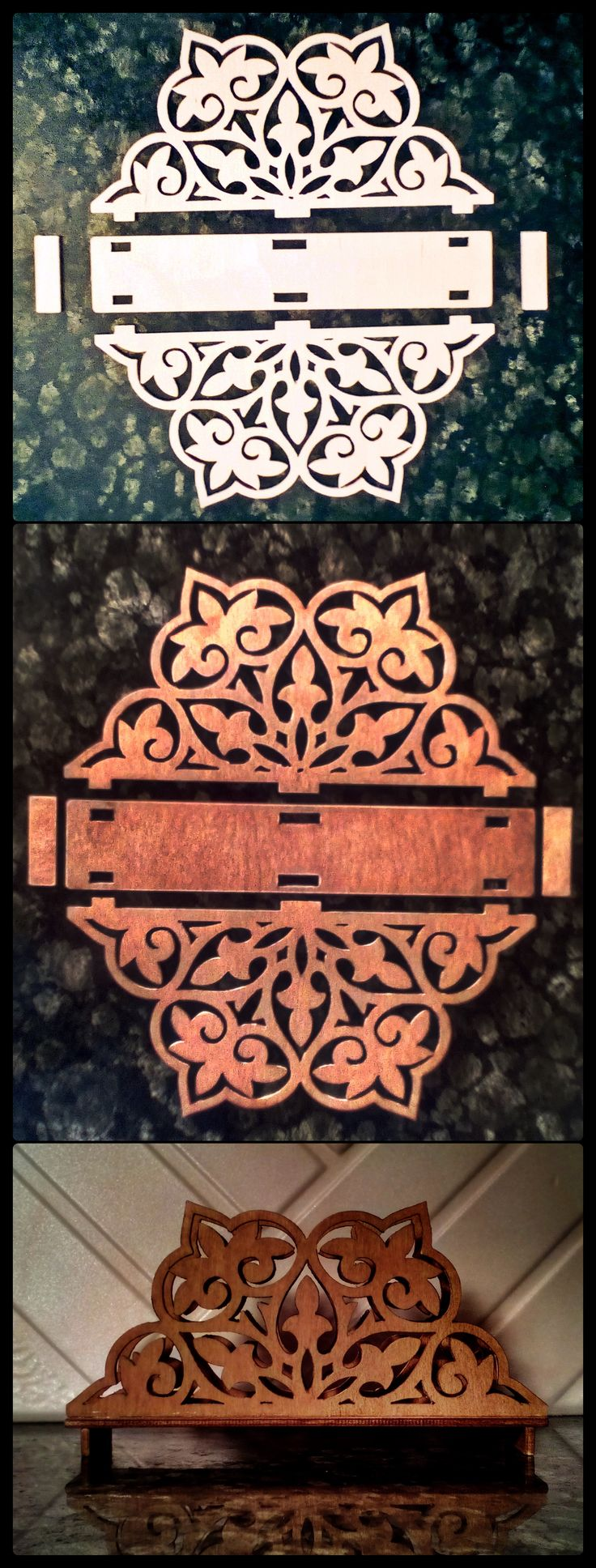 Birch wood 4mm thick. Oil coated with a rosewood shade.Cut with a cnc milling machine. It's simple. 1.Came up with the idea and design. 2.Draw project in the program. 3.Converted to cnc code 4.Get a timber. 5.Run the milling machine. 6.Paint,glued and that's it. And have a masterpiece. Now you can decorate. Decorate rooms, making them comfortable.
