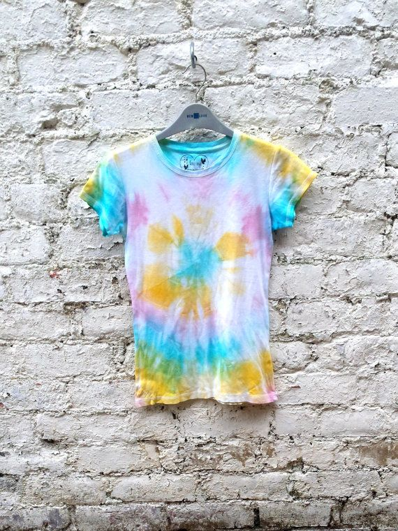 Rainbow Tie Dye Shirt Womens to fit UK size 10 or US size 6 Pastel Grunge Goth Gift Ideas