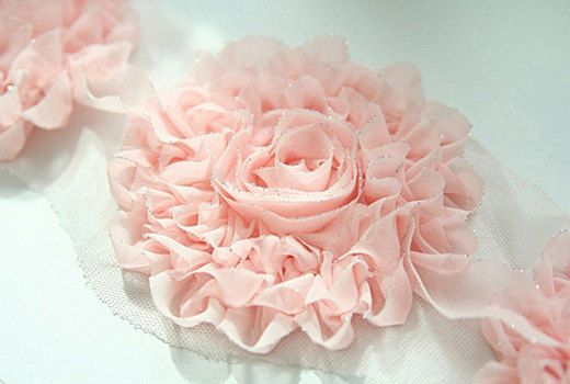 Delion chiffon fabric flower two gathered rows with straight stitch gathered and center is a twist and roll
