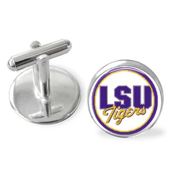 LSU Tigers cuff links, SEC sports, March Madness 2017, Louisiana State University sports, made in USA by Dixie Dazzle. sporty gift #SportsTeam #CollegeLogo #LsuStockingStuffer #LsuTigers #GroomsmenGift #SportsGiftSet #CufflinkSet #LouisianaState #lsu #SportyGift