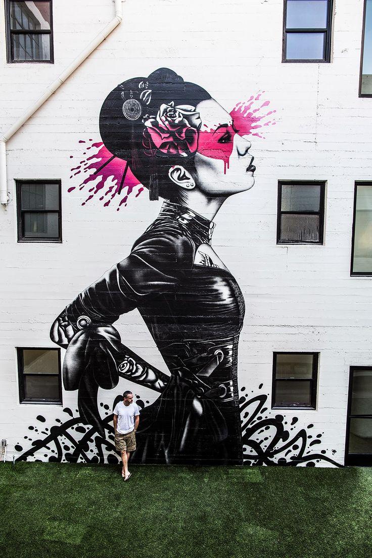 El artista Irlandes Fin DAC en el centro de Los Angeles. 1
