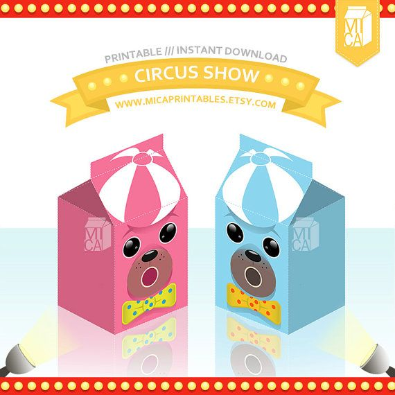 Circus Seals Pink Blue Seal Printable Party by MicaPrintables