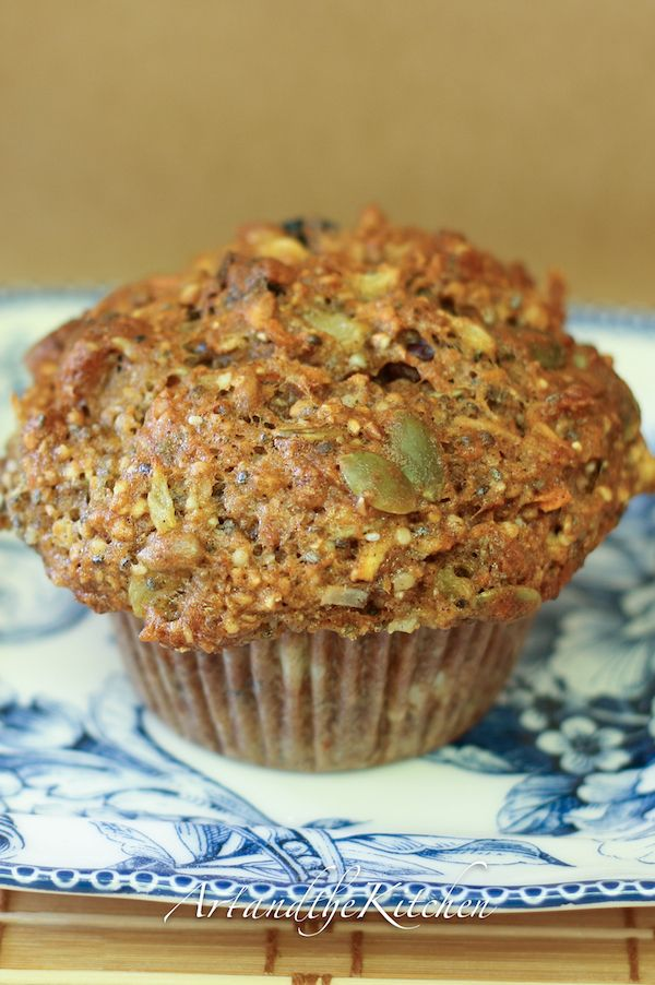 Muffins with chia, hemp, pumpkin, sunflowers seeds, mixed with fresh carrots and apple and dried fruit