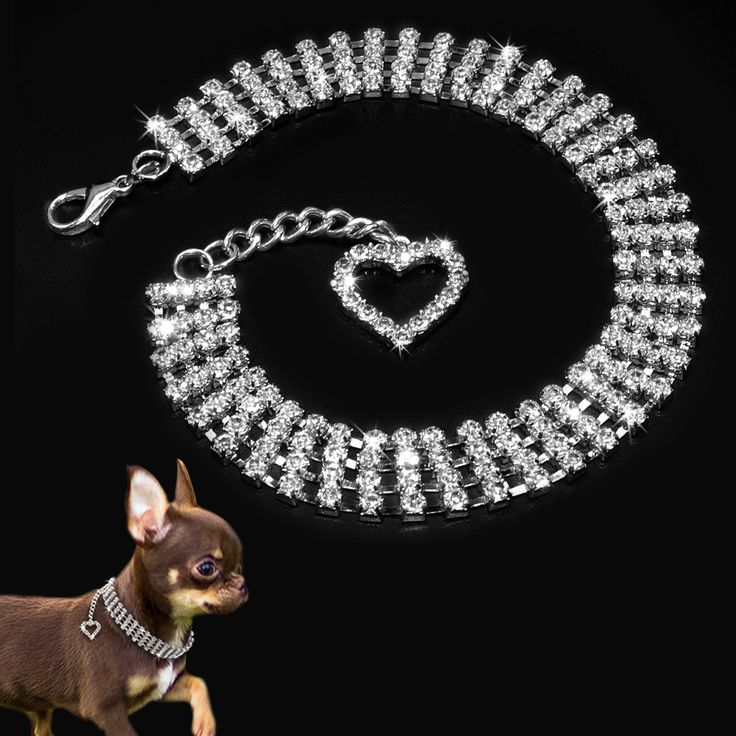 Rhinestone Dog Collar Jewelry Necklace For Pet Dogs With Novelty Crystal Heart Charm Pendant // Worldwide FREE Shipping //     #petsupplies