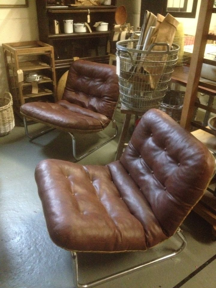 Pair Of Retro Leather Chrome Chairs Seat Pads Reverse To