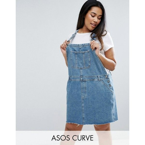 ASOS CURVE Denim Dungaree Dress in Mid Wash Blue (70 CAD) ❤ liked on Polyvore featuring plus size women's fashion, plus size clothing, plus size dresses, blue, plus size, short denim dress, denim mini dress, women plus size dresses, blue mini dress and plus size denim dress