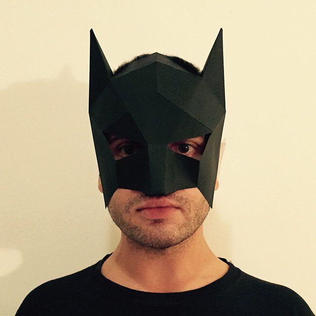 faire votre propre masque de batman de papier pdf motif masque polygone visage bricolage. Black Bedroom Furniture Sets. Home Design Ideas
