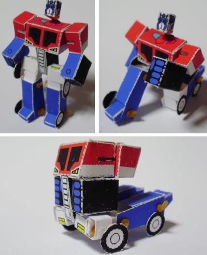 Optimus Prime Paper Model - free printable actually transforms
