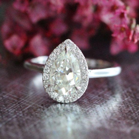 Pear+Moissanite+Diamond+Engagement+Ring+in+14k+by+LaMoreDesign