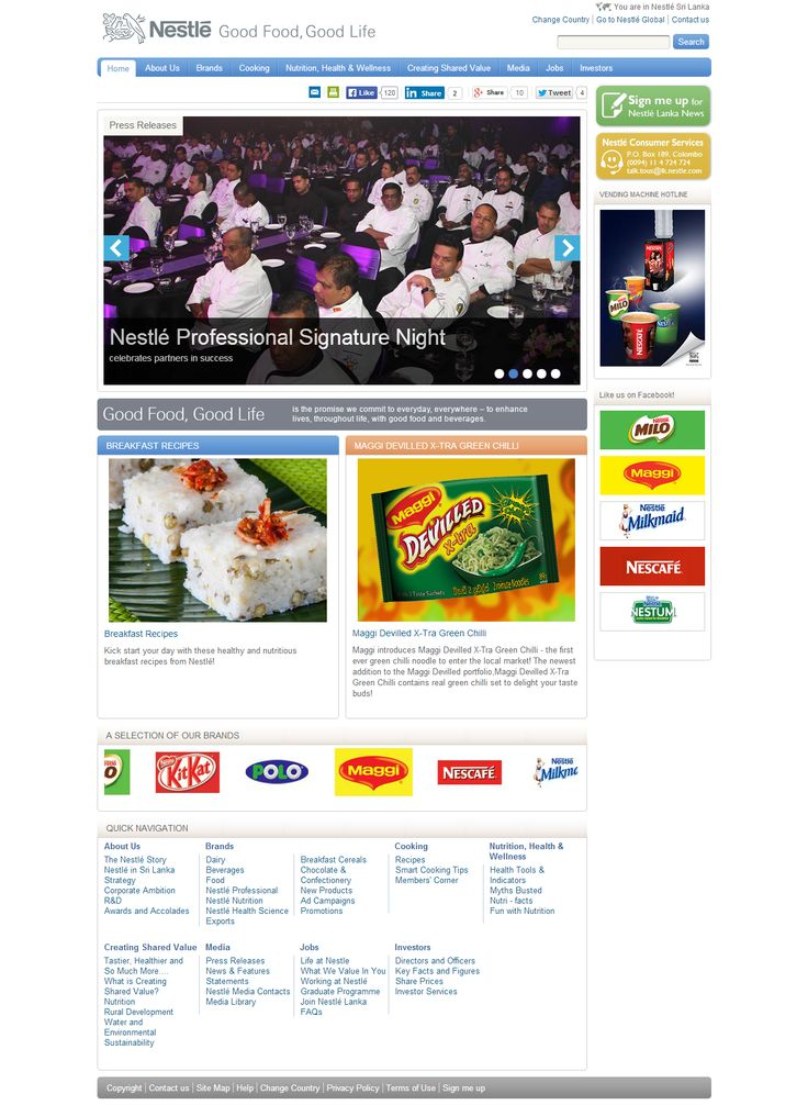 Nestle Lanka Website
