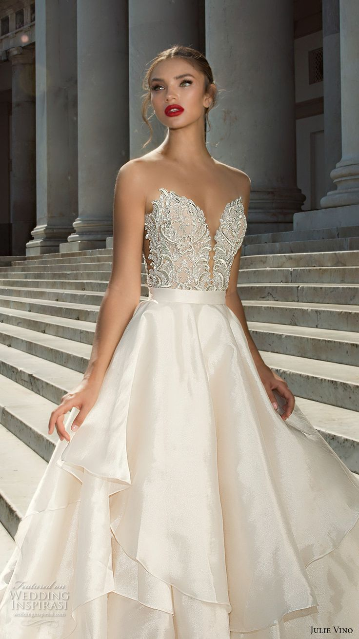 julie vino fall 2017 bridal strapless deep plunging sweetheart neckline heavily embellished bodice beautiful princess a  line wedding dress halter back royal train (1217 1215) zv