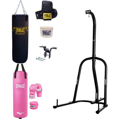 Everlast Single Station Heavy Bag Stand with Choice of a 70-lb. Heavy Bag Kit or Women's Heavy Bag Kit, Pink