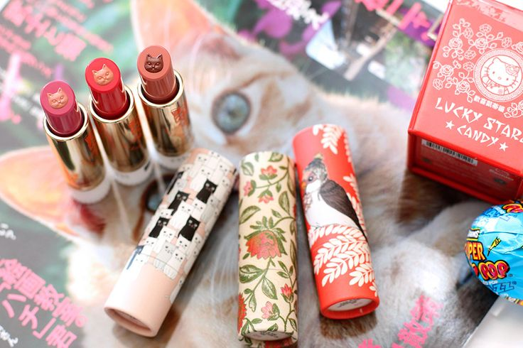 The three new $20 Paul & Joe Fall 2015 Lipsticks CS from the left in Cafe Parisien 093, Coffee Cherry 094, Cafe Espresso 095; and the $7 Lipstick Cases CS from the left in 030, 020 and 028
