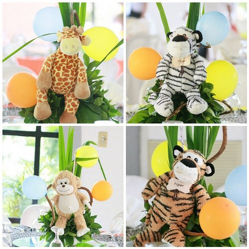 Stuffed animal table centerpieces baby shower for Animal party decoration