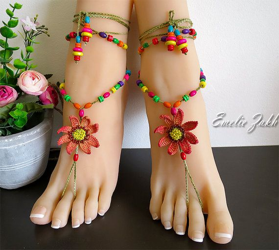 Barefoot sandals with beads knitting crochetturquoise by EZDessin