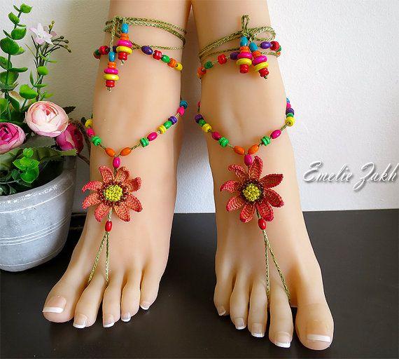 Sandali a piedi nudi con perline maglia all'uncinetto di EZDessin
