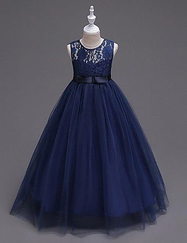 Ball Gown Floor Length Flower Girl Dress - Organza Sleeveless Jewel Neck with Ribbon by YDN