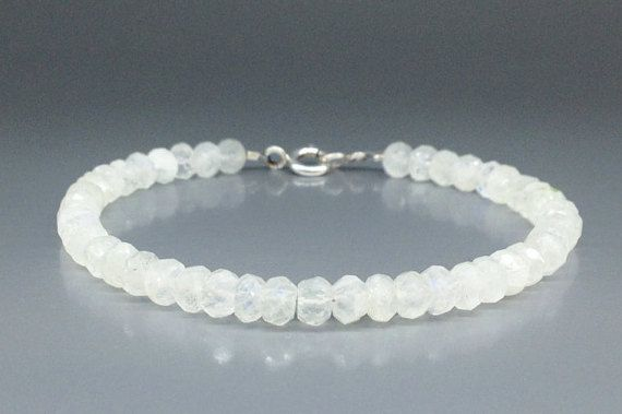 Check out Bracelet of blue shining Moonstone with Sterling silver - gift idea on gemorydesign