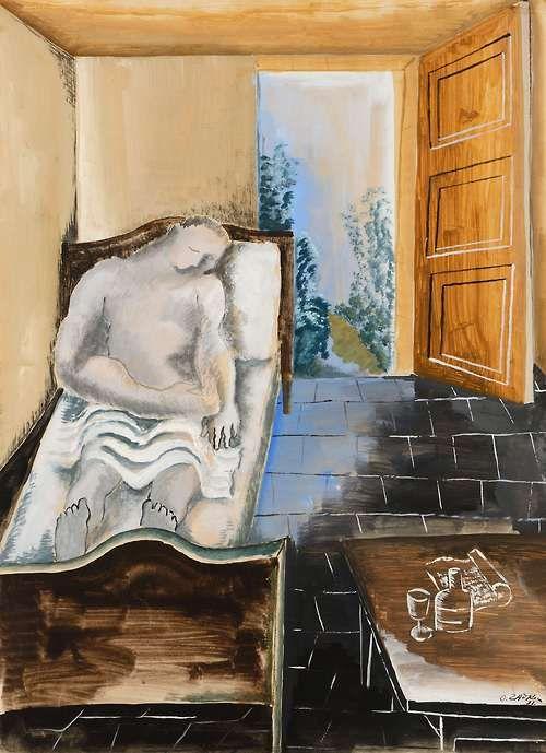 Ossip Zadkine(1890-1967) - Le rêveur - 1931 - Gouache et aquarelle sur papier -  Galerie Fleury, Paris