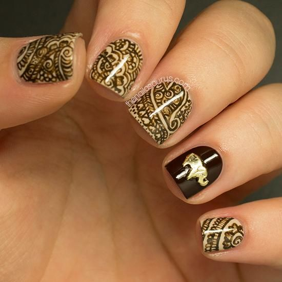 Here's a delicate nail art tutorial inspire by the  Mehndi patterns traditionally associated with Hindu weddings.