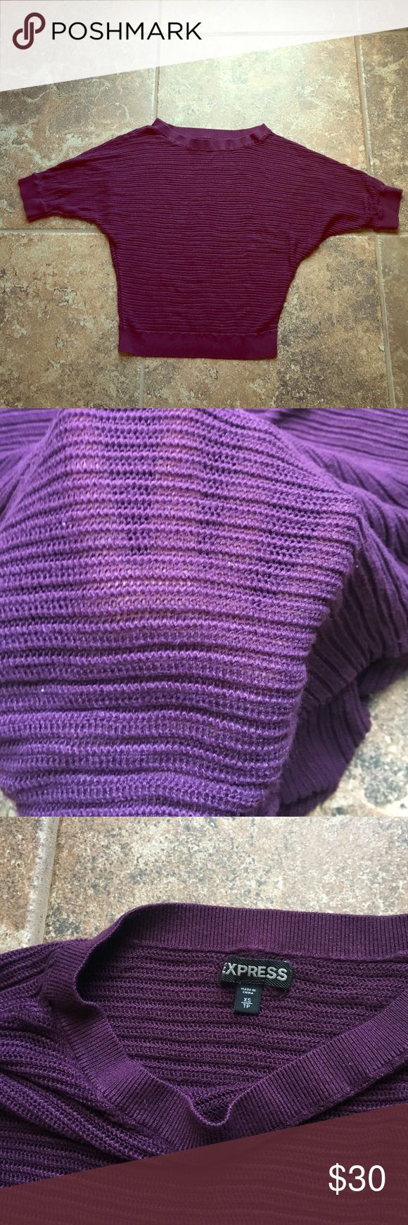 Purple tee- 3/4 length sleeved sweater Deep purple mesh 3/4 length sleeved sweater. Barely worn good condition. Express Sweaters Shrugs & Ponchos